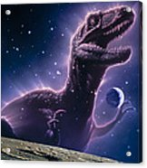 Conceptual Art Of A Ghostly Dinosaur Over The Moon Acrylic Print by Joe Tucciarone
