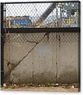 Concrete And Rusty Fence Acrylic Print