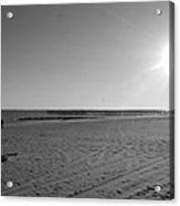 Coney Island Beach In Black And White Acrylic Print