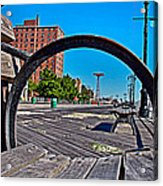 Coney Island Bench View Acrylic Print