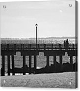 Coney Island Coast In Black And White Acrylic Print