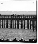 Coney Island Pier In Black And White Acrylic Print