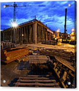 Constraction Site At Night Acrylic Print