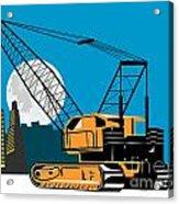 Construction Crane Hoist Retro Acrylic Print