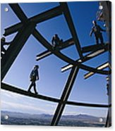 Construction Workers On Beams Acrylic Print