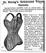 Corset Advertisement, 1895 Acrylic Print