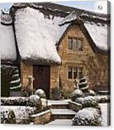 Cotswolds Cottage Covered In Snow Acrylic Print