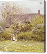 Cottage Freshwater Isle Of Wight Acrylic Print by Helen Allingham