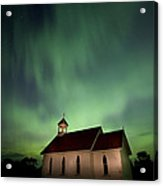 Country Church And Northern Lights Acrylic Print
