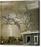 Country Horses Lightning Storm Ne Boulder Co 66v Bw Art Acrylic Print