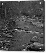 Country Stream Bw Acrylic Print