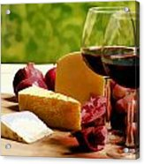 Countryside Wine  Cheese And Fruit Acrylic Print by Elaine Plesser