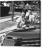 Couple Posing At Open Top Car, (b&w), Portrait Acrylic Print by George Marks