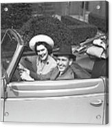 Couple Riding In Old Fashion Convertible Car, (b&w),, Portrait Acrylic Print