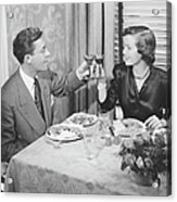 Couple Toasting At Dinner Table, (b&w), Elevated View Acrylic Print by George Marks
