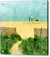 Couple Walking Dog On Beach Acrylic Print by Jill Battaglia
