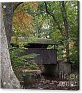 Covered Bridge By The Cottage  Acrylic Print