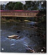 Covered Bridge In The Rain Acrylic Print