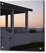 Covered Porch And Fence At Sunset Acrylic Print by Roberto Westbrook