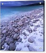 Covered With Snow Pebbled Shore Of Georgian Bay Acrylic Print