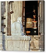 Cow And Shiv Ling Kumbhalghar Acrylic Print by Kantilal Patel