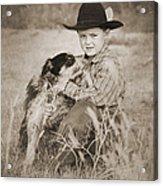 Cowboy And Dog Acrylic Print