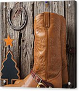 Cowboy Boots And Christmas Ornaments Acrylic Print