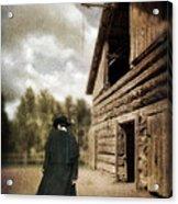 Cowboy Walking By Barn Acrylic Print