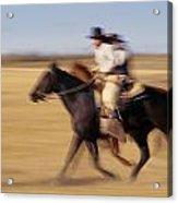 Cowboys Racing Horses Acrylic Print