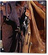 Cowboys Saddle And Chaps Detail Acrylic Print