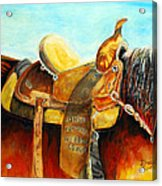 Cowgirl Saddle Acrylic Print