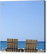 Cozumel Mexico Beach Chairs And Blue Skies Acrylic Print