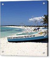 Cozumel Mexico Fishing Boats On White Sand Beach Acrylic Print