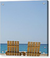 Cozumel Mexico Poster Design Beach Chairs And Blue Skies Acrylic Print