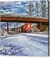 Cp Rail Coal Train Under Bridge Hdr Acrylic Print