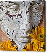 Cracked Face And Sunflowers Acrylic Print