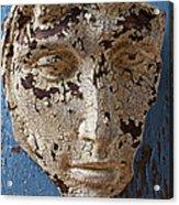 Cracked Face On Blue Wall Acrylic Print