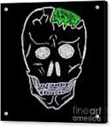 Cracked Skull Black Background Acrylic Print by Jeannie Atwater Jordan Allen