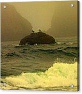 Crashing Waves And Fog Acrylic Print