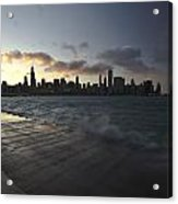 crashing waves at sunset in Chicago Acrylic Print