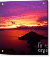 Crater Lake Fire In The Sky Acrylic Print