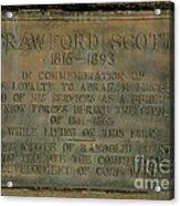 Crawford Scott Historical Marker Acrylic Print