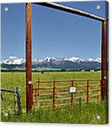 Crazy Mountain Ranch Gate Acrylic Print