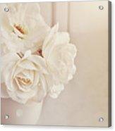 Cream Roses In Vase Acrylic Print by Photo - Lyn Randle