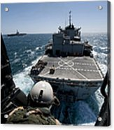 Crewman Guides The Pilots Of An Hh-60h Acrylic Print