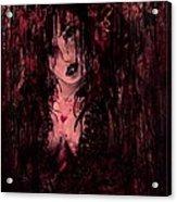 Crimson Torn Lace Acrylic Print