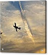 Crop Duster Under The Jet Trail Acrylic Print