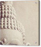 Cropped Stone Buddha Head Statue Acrylic Print by Lyn Randle