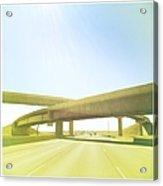Cross Bridge Over Road Acrylic Print by A L Christensen