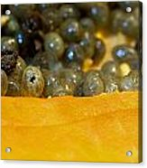 Cross Section Of A Cut Papaya With The Fruit And The Seeds Acrylic Print